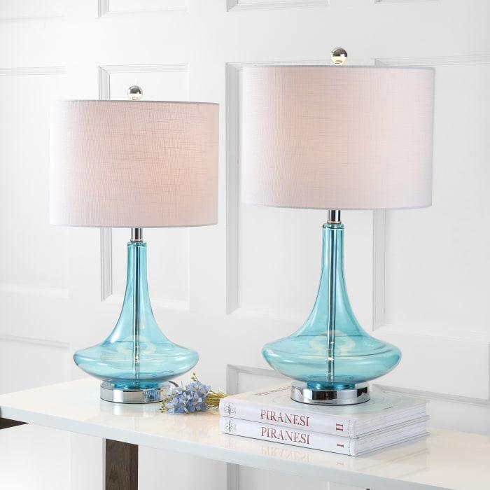 Glass Teardrop LED Table Lamp, Aqua/Chrome (Set of 2)