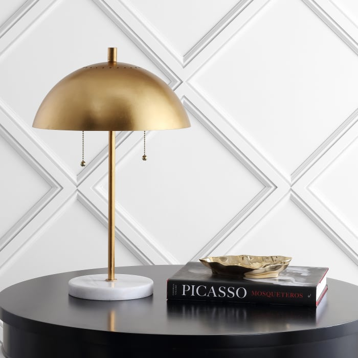 Dome Metal with Marble Base LED Table Lamp, Gold/White