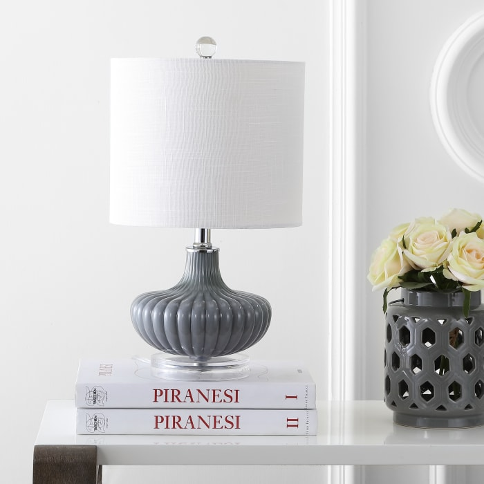 Glass and Lucite Table Lamp, Gray