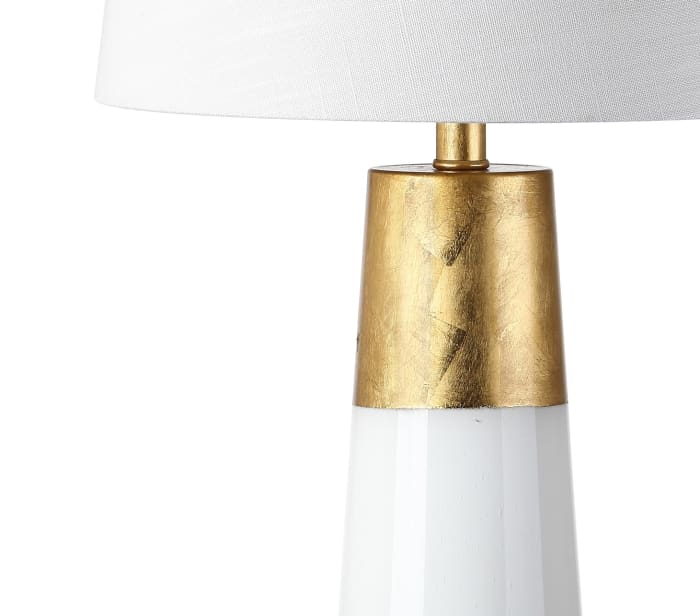 Bubble Glass LED Table Lamp, White with Gold Leaf