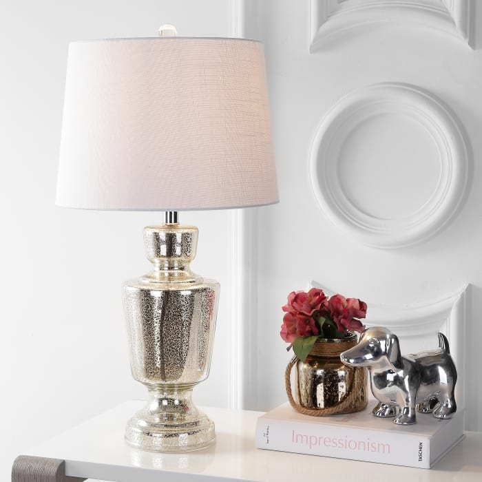 Glass LED Table Lamp, Silver/Ivory