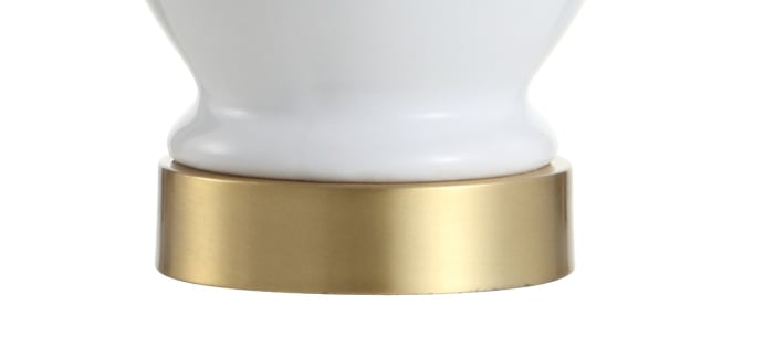 Ceramic/Metal LED Table Lamp, White/Brass Gold