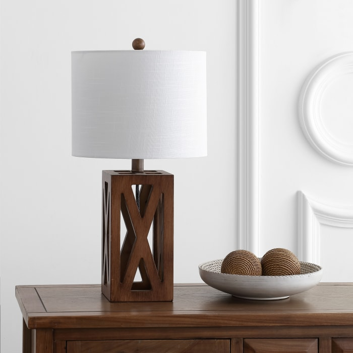 Wood LED Table Lamp, Brown