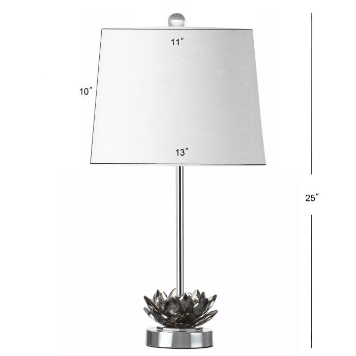 Crystal LED Table Lamp, Smoke Gray/Chrome