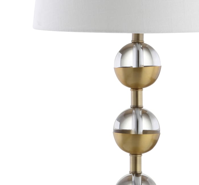 Crystal LED Table Lamp, Clear/Brass Gold (Set of 2)