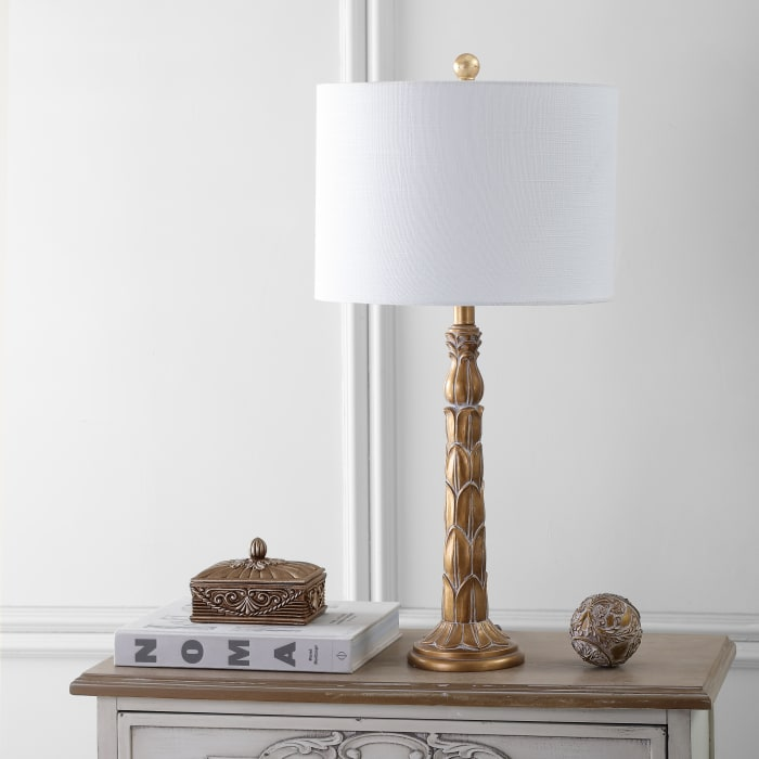 Resin Table Lamp, Antique Gold