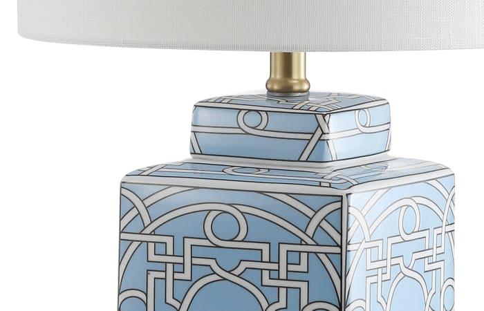 Ceramic/Metal Ginger Jar LED Table Lamp, Blue/White