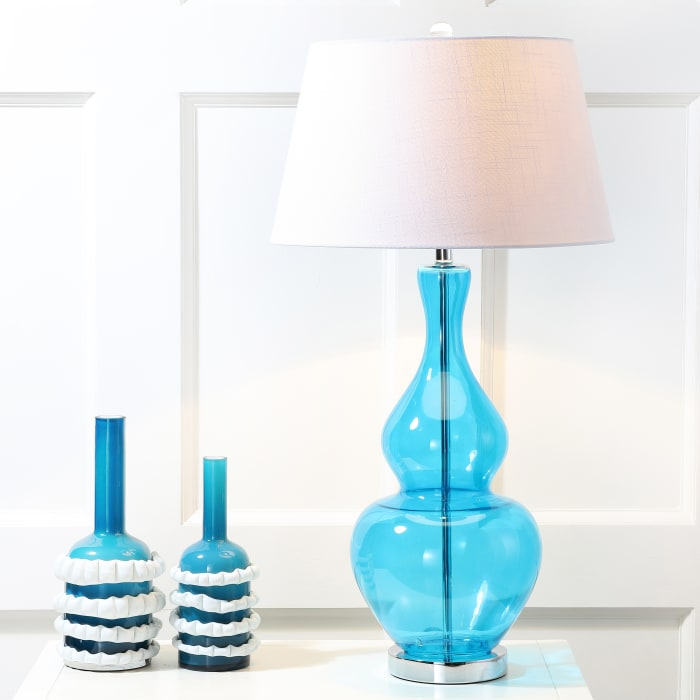 Glass LED Table Lamp, Turquoise