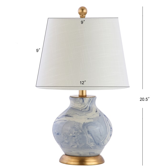 Marbleized Ceramic LED Table Lamp, Blue/White