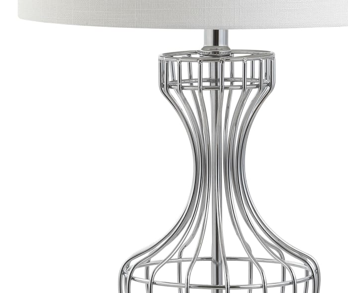 Metal Wire Frame LED Table Lamp, Chrome
