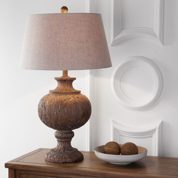 Resin LED Table Lamp, Dark Brown with Gray Shade