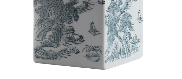 Chinoiserie LED Table Lamp, Blue/White