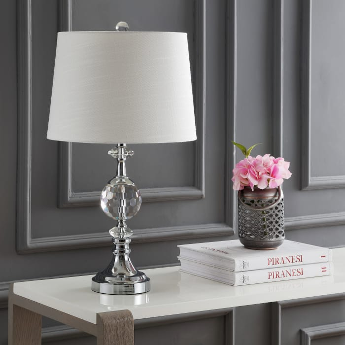 LED Crystal/Metal Table Lamp, Clear/Chrome