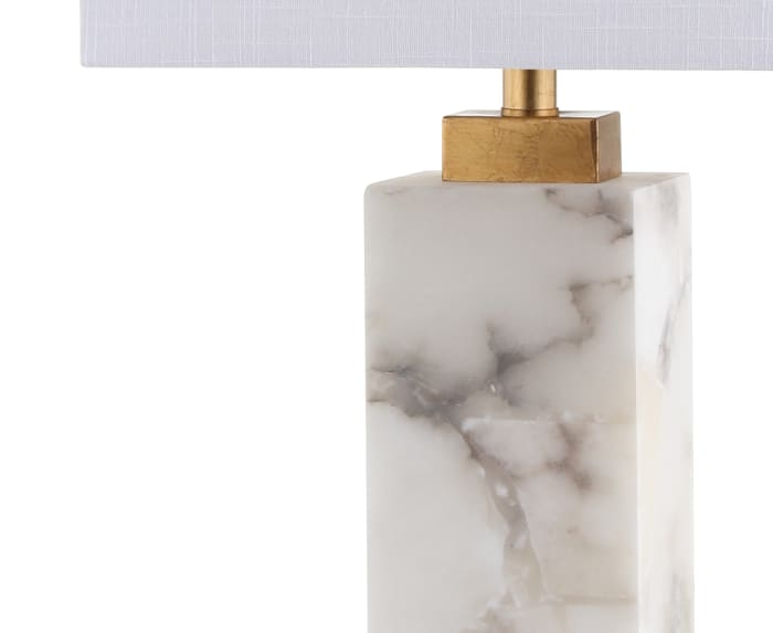 Alabaster LED Table Lamp, White/Gold Leaf