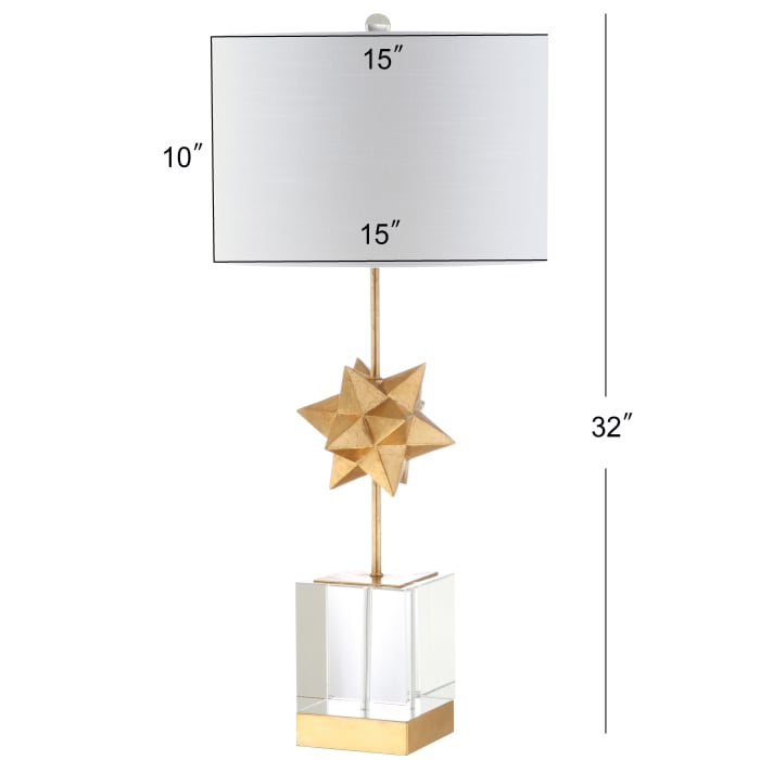 Metal/Crystal Table Lamp, Clear/Gold Leaf