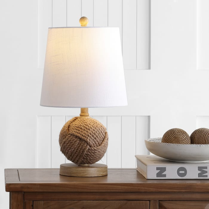Monkey Fist Rope Ball LED Table Lamp, Natural