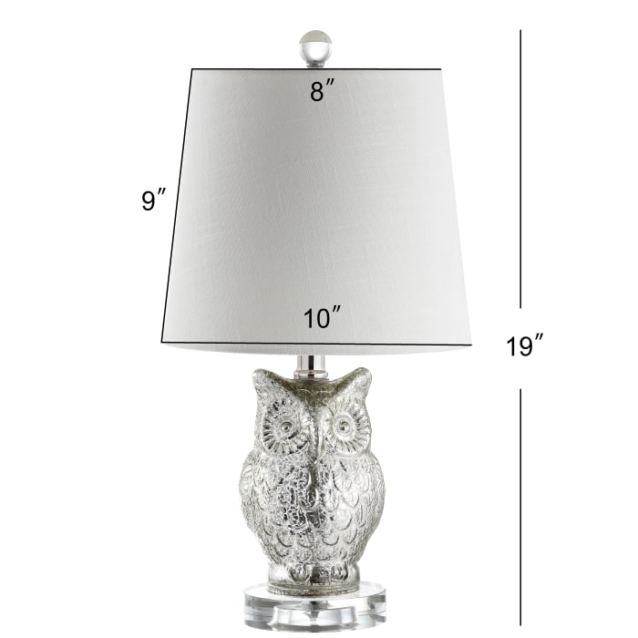 Night Owl Glass/Crystal Table Lamp, Silver/Ivory