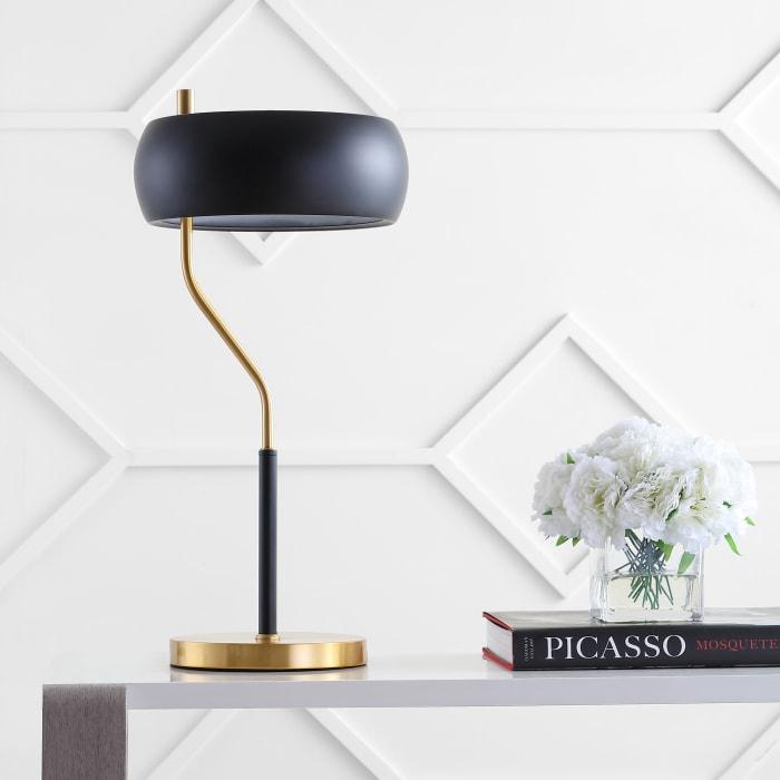 Moody Metal LED Desk Lamp, Black/Brass Gold