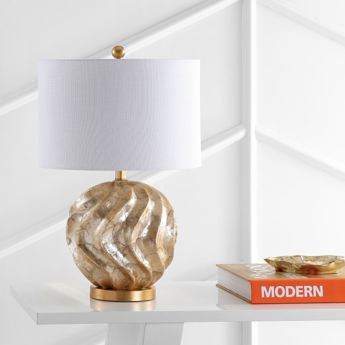 Sphere Sea Shell LED Table Lamp, Brown/Gold