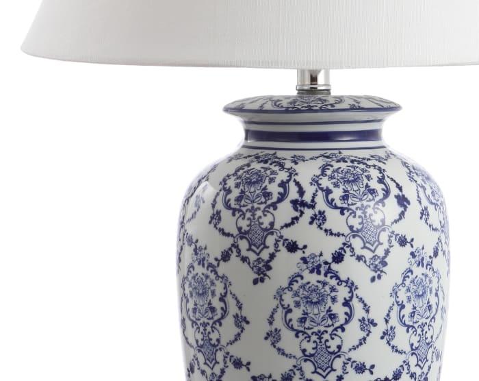 Chinoiserie Ceramic LED Table Lamp, Blue/White