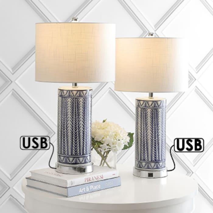 Ceramic/Iron Contemporary USB Charging LED Table Lamp, Navy/Chrome
