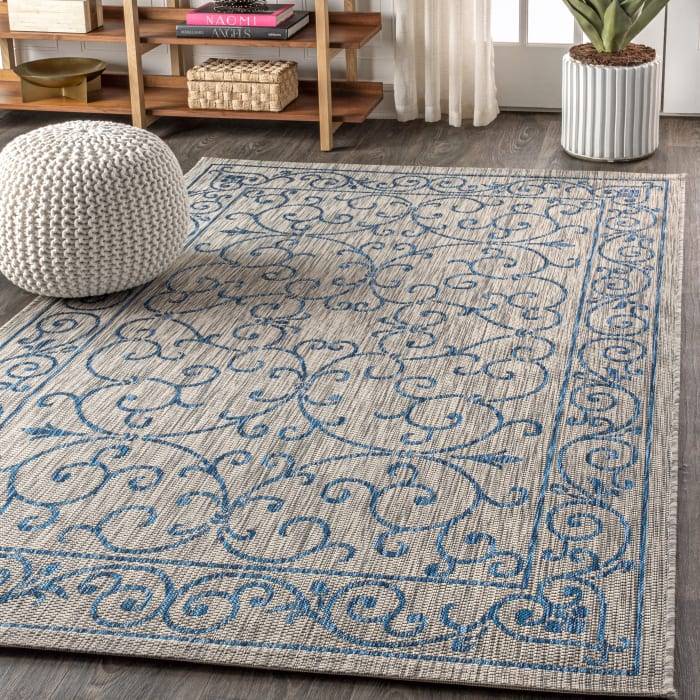 Vintage Filigree Textured Weave Indoor/Outdoor Gray/Navy 5' x 8' Area Rug
