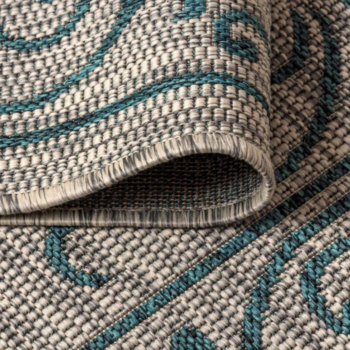 Vintage Filigree Textured Weave Indoor/Outdoor Gray/Teal 5' x 8' Area Rug