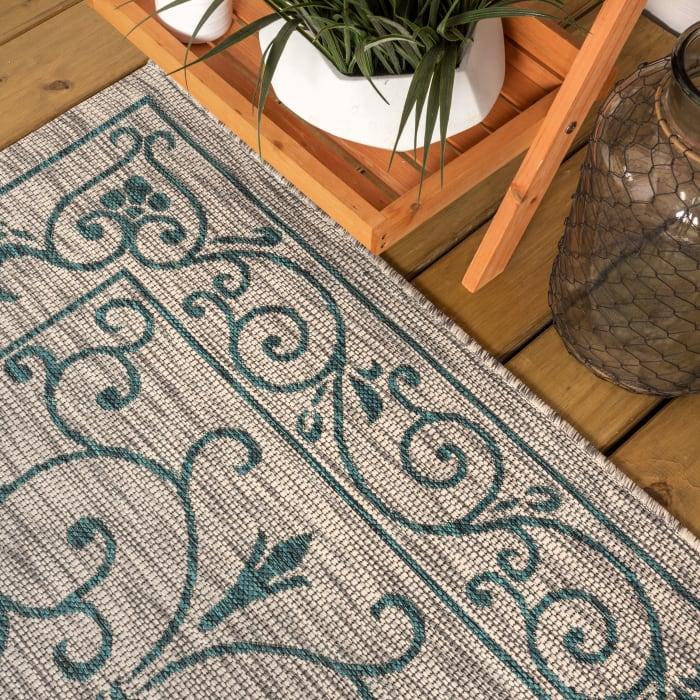 Vintage Filigree Textured Weave Indoor/Outdoor Gray/Teal 8' x 10' Area Rug