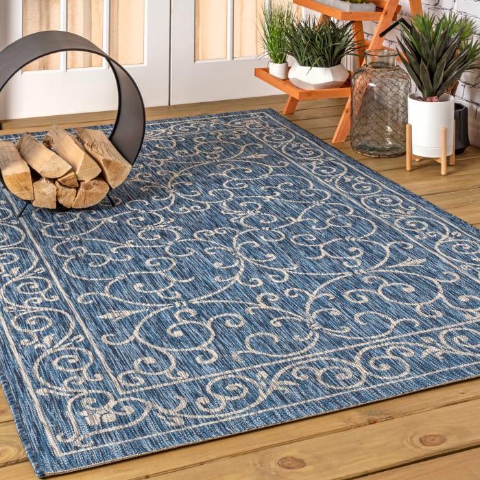 Vintage Filigree Textured Weave Indoor/Outdoor Navy/Gray 4' x 6' Area Rug