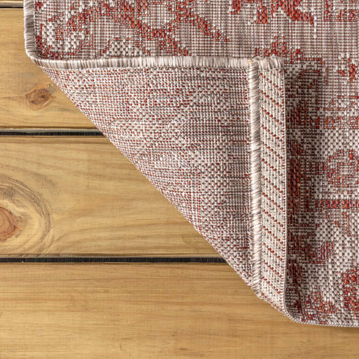 Bohemian Medallion Textured Weave Indoor/Outdoor Red/Taupe 4' x 6' Area Rug