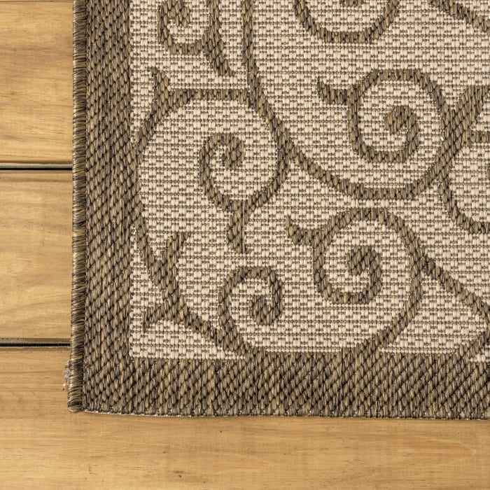 Madrid Vintage Filigree Textured Weave Indoor/Outdoor Beige/Brown 4' x 6' Area Rug