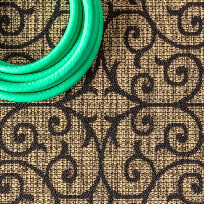 Madrid Vintage Filigree Textured Weave Indoor/Outdoor Black/Khaki 8' x 10' Area Rug