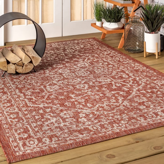 Bohemian Medallion Textured Weave Indoor/Outdoor Red/Taupe 8' x 10' Area Rug