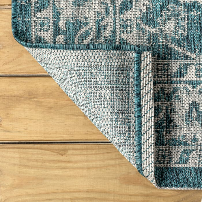 Vine and Border Textured Weave Indoor/Outdoor Teal/Gray 5' x 8' Area Rug