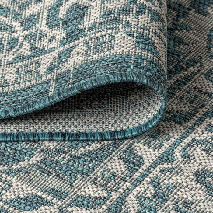 Vine and Border Textured Weave Indoor/Outdoor Teal/Gray 8' x 10' Area Rug