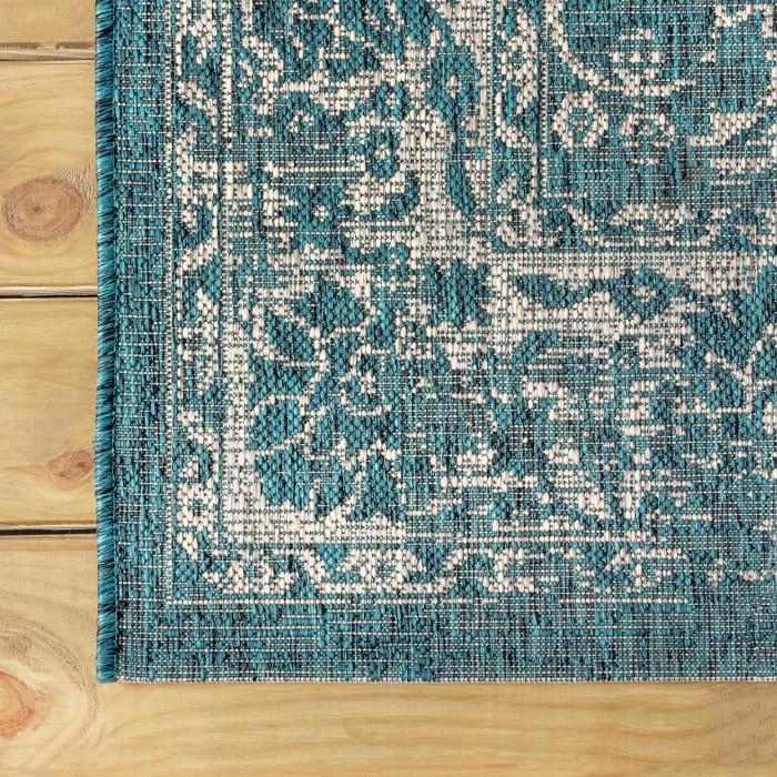Bohemian Textured Weave Floral Indoor/Outdoor Teal/Gray 8' x 10' Area Rug