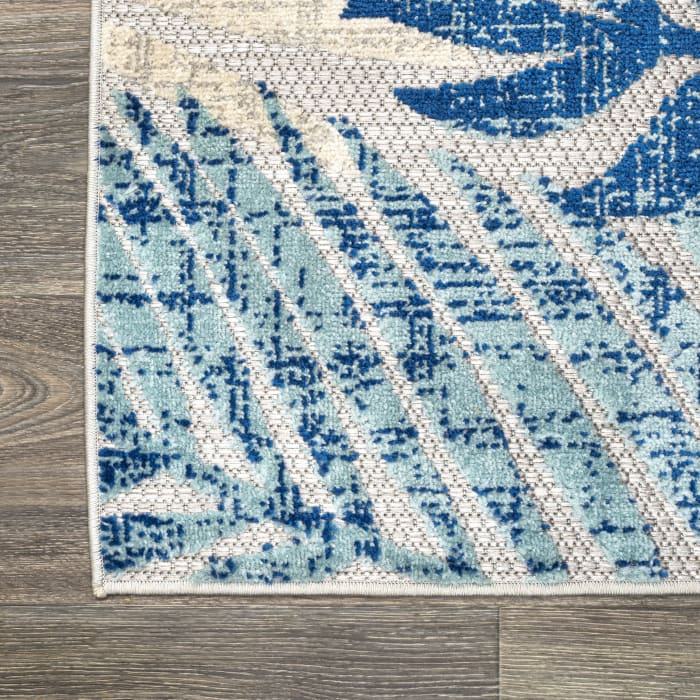 Tropics Palm Leaves Indoor/Outdoor Gray/Blue 4' x 6' Area Rug