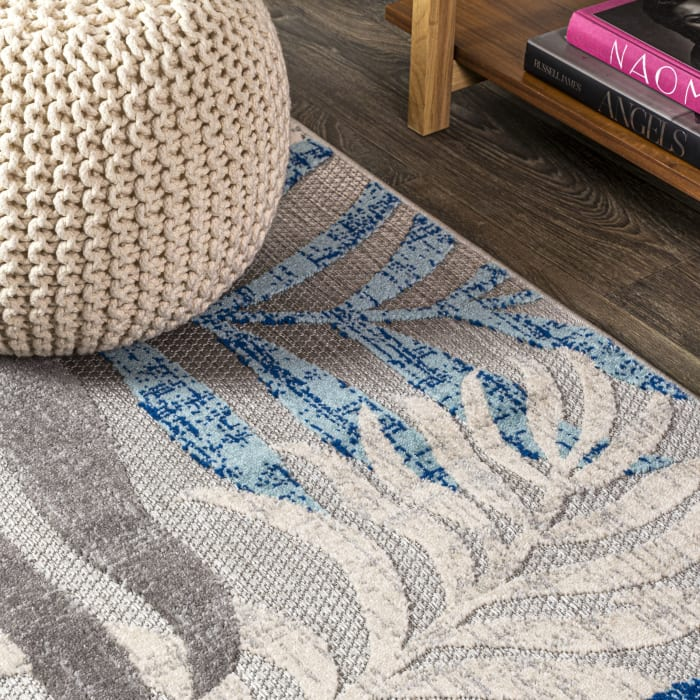Tropics Palm Leaves Indoor/Outdoor Gray/Blue 8' x 10' Area Rug