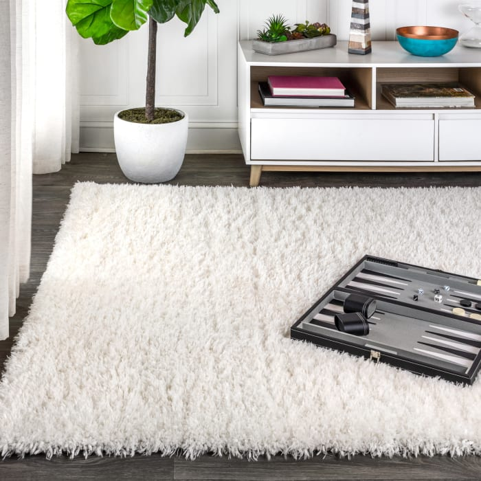 Solid Plush Shag Ivory 4' x 6' Area Rug