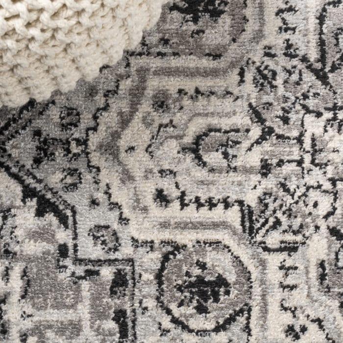 Denia Ornate Geometric Medallion Dark Gray 8' x 10' Area Rug