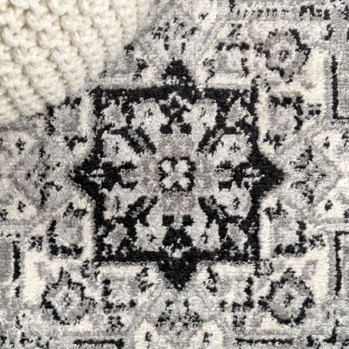 Inigo Black and White Cottage Medallion Dark Gray/Cream 4' x 6' Area Rug