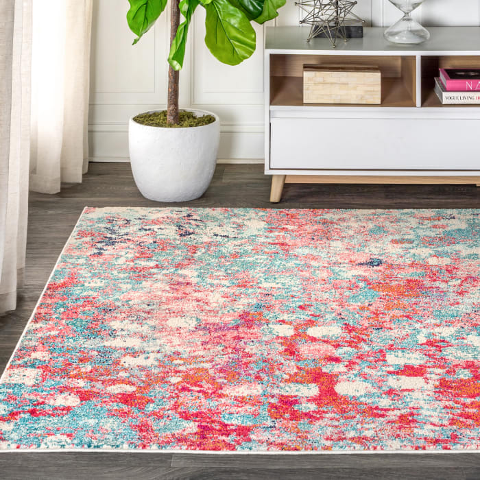 Contemporary  Modern Abstract Blue/Red 8' x 10' Area Rug