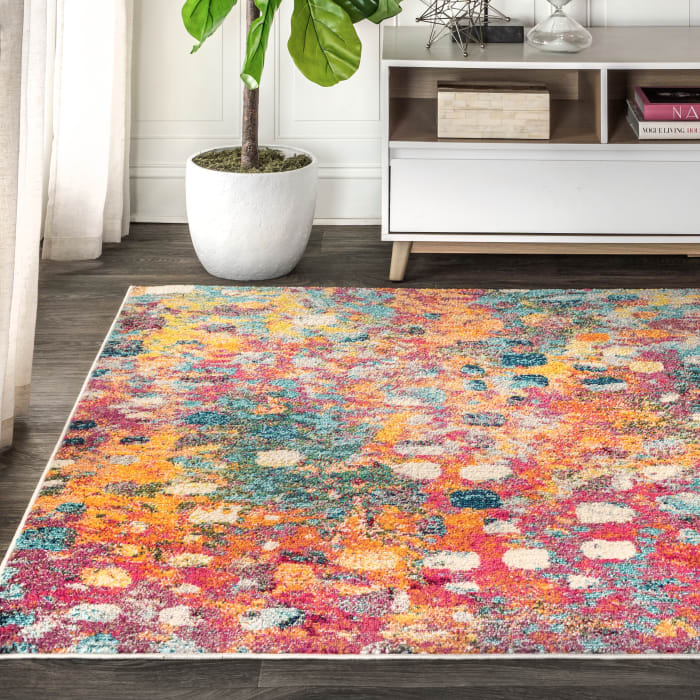 Contemporary Modern Abstract Multi/Yellow 5' x 8' Area Rug