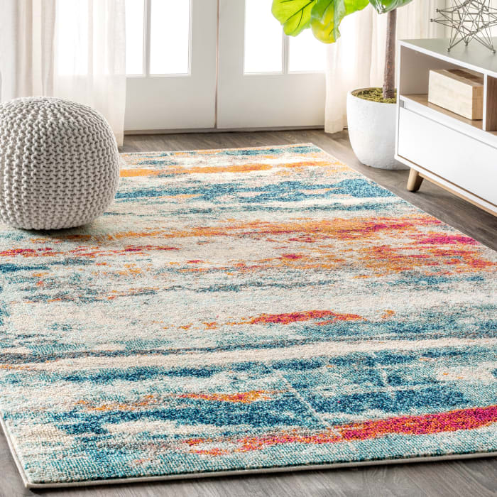 Contemporary Modern Abstract Brushstroke Cream/Blue 5' x 8' Area Rug
