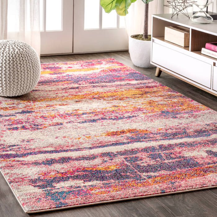 Contemporary Modern Abstract Brushstroke Pink/Cream 4' x 6' Area Rug