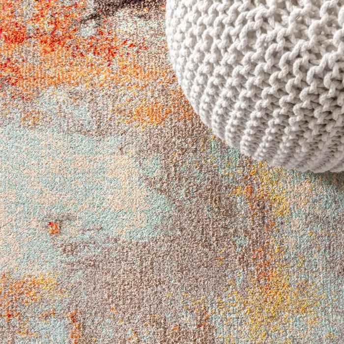 Contemporary Modern Abstract Vintage Cream/Orange 5' x 8' Area Rug