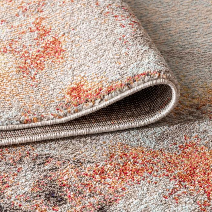Contemporary Modern Abstract Vintage Cream/Orange 8' x 10' Area Rug