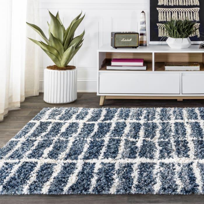 Stacked Grid Shag Indigo Blue/Ivory 5' x 8' Area Rug