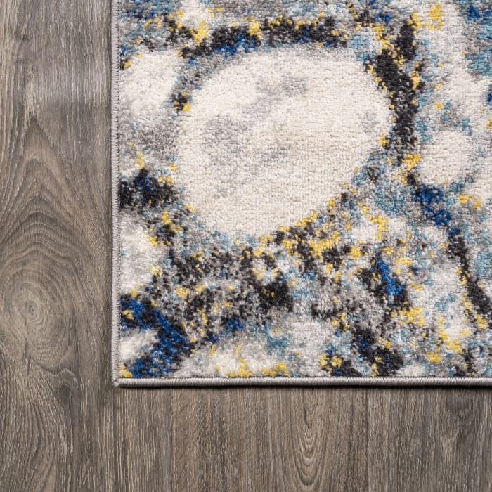 Navy & Gray Marbled Abstract Dark Gray/Blue  5' x 8' Area Rug