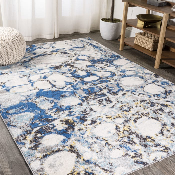 Navy & Gray Marbled Abstract Dark Gray/Blue  8' x 10' Area Rug